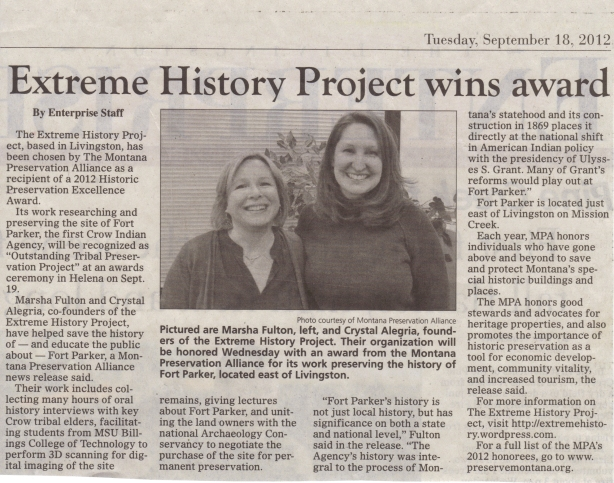 Extreme History Project wins award