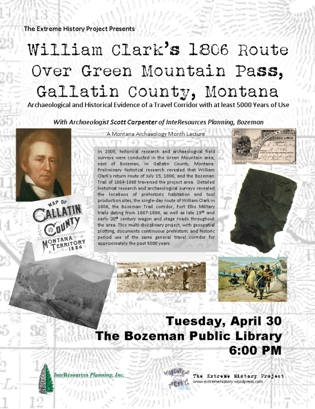 William Clark's 1806 Route Over Green Mountain Pass, Gallatin County, Montana