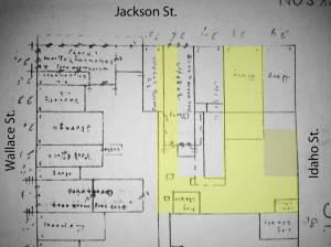 This map shows the buildings as they stood facing Jackson St.