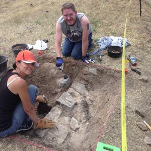 Gheri and John have been working on a portion of the foundation wall for one the buildings that stood on this empty lot.