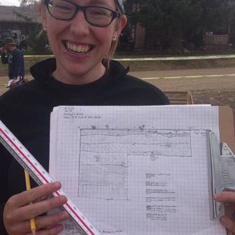 Bekah shows off her first profile map of her unit at Virginia City, Montana