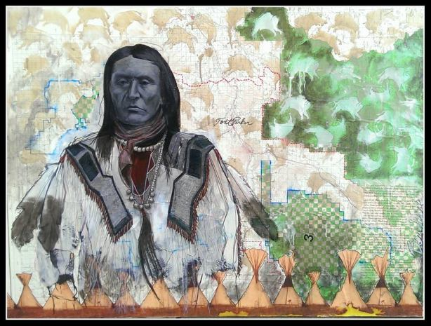 The latest work by artist Ben Pease is a tribute to one of the great Chief's of the Crow Tribe, Sits in the Middle of the Land.