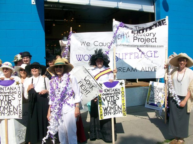 The Extreme History Project celebrates the centennial of Montana Women's Suffrage in the 2014 Bozeman Sweet Pea Parade
