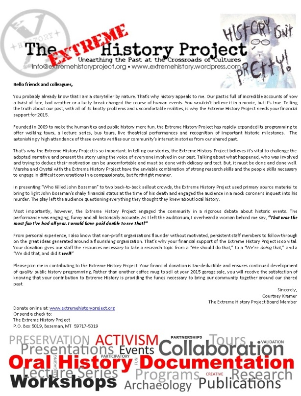 The Extreme History Project 2014 appeal letter
