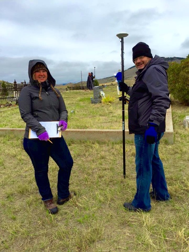 Tessa Switzer and John W. Olson (me!) at the Nevada City Cemetery.  We are using mapping grade receivers, external antennae, and range poles for mapping.